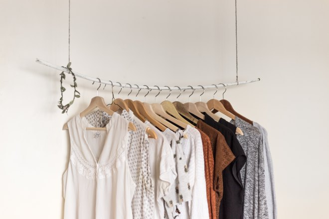 Minimalist wardrobe hanging from the ceiling